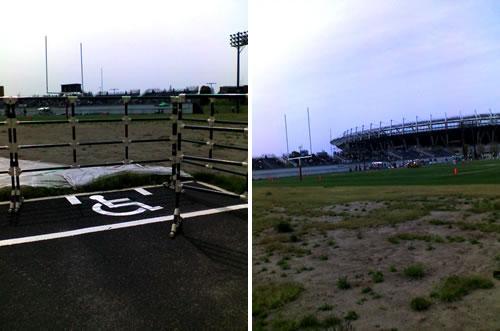 ①福祉用の駐車スペースの写真②スタジアムの外からスタジアムを望む写真