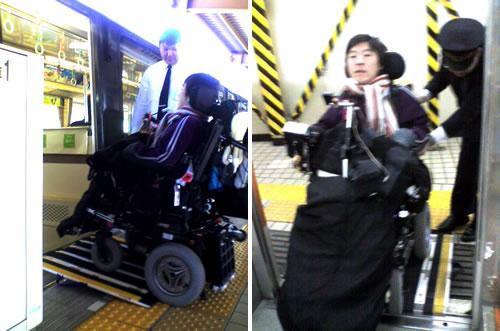 車椅子ユーザーのメンバーが東京モノレールの車両に乗り込む写真(横からのショットと前から)